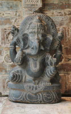 Hand Carved Granite Ganesha 4 - <b>SOLD<b>
